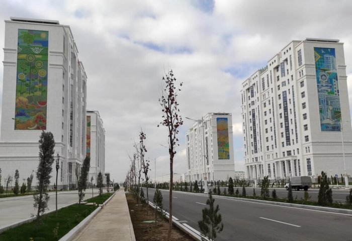 Turkmen Enterprise Decorates Walls of Residential Buildings With Mosaic Stones