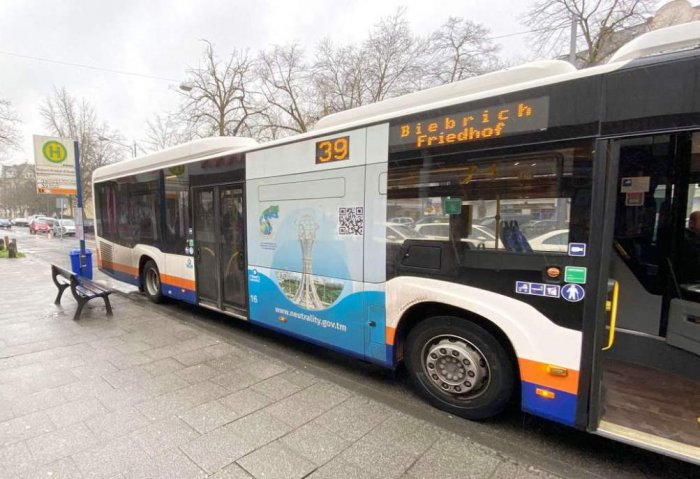 Germany's Buses Furnished With Banners in Honor of Turkmenistan's Neutrality